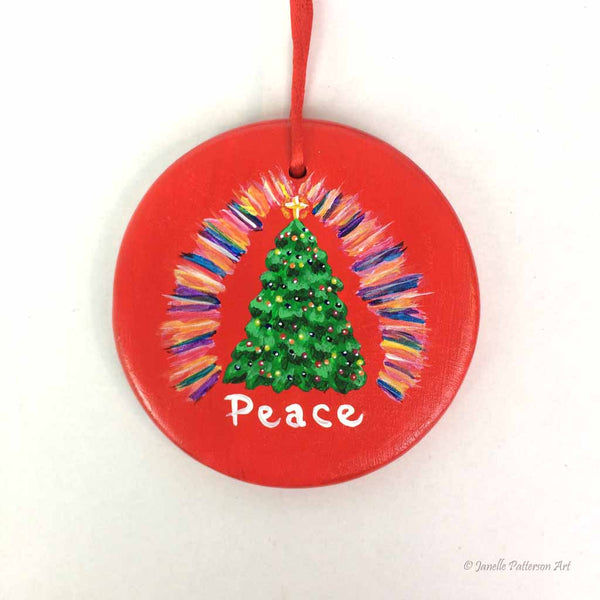 Technicolor Tree 2018 Ceramic Ornament