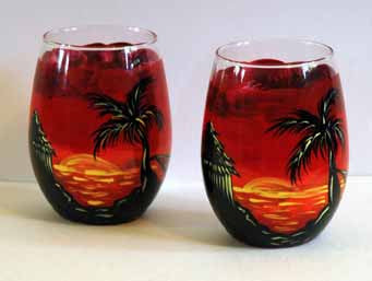 Tiki Beach Stemless Glasses - Janelle Patterson Art