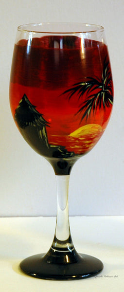 Tiki Beach Wine Glass - Janelle Patterson Art