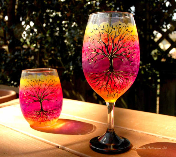 Tree of Life Hand Painted Wine Glass - Janelle Patterson Art