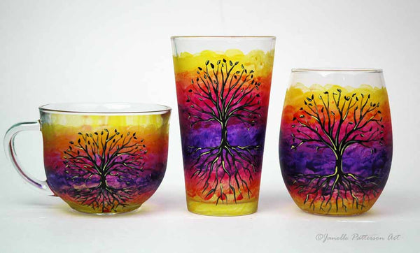 Tree of Life Hand Painted Glass Mug - Janelle Patterson Art