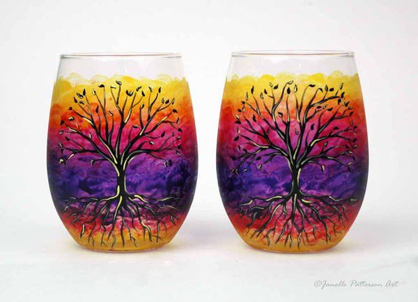 Tree of Life Hand Painted Stemless Wine Glass - Janelle Patterson Art