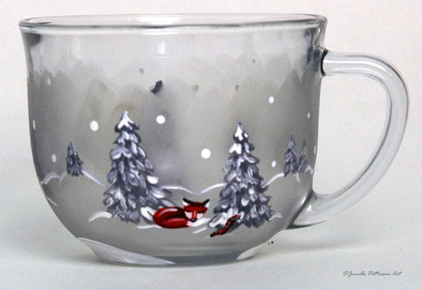Woodland Christmas Glass Mug - Janelle Patterson Art
