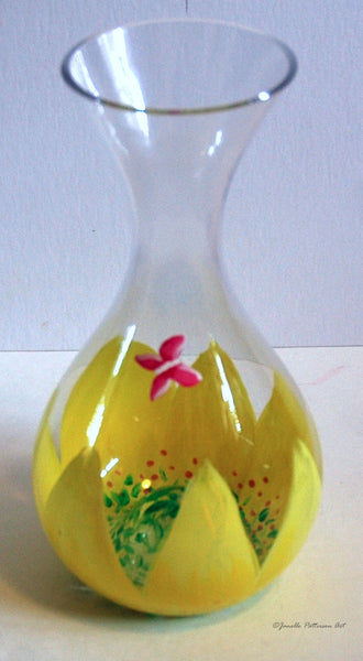 Yellow Daisy Wine Decanter - Janelle Patterson Art