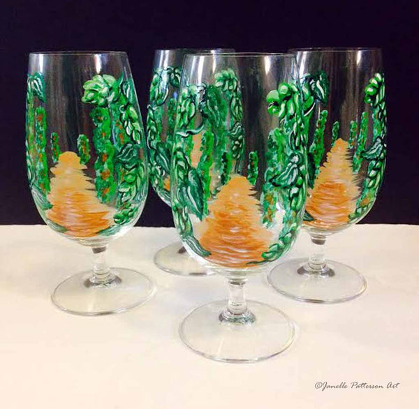 Custom Hand Painted Wine Glass - Janelle Patterson Art