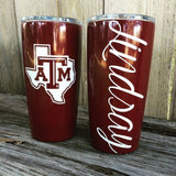 Maroon Aggie Red Powder Coated Tumbler Cup