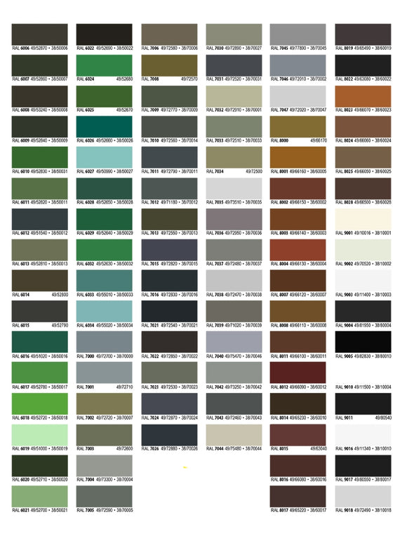 RAL Color Chart Powder Coat