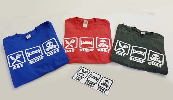 Eat Sleep Powder Coat Short Sleeve T-Shirt & Stickers - Merchandise