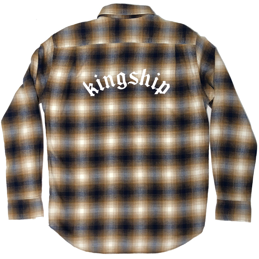 Downtown Flannel - Navy/Gold/White