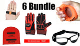 6 BUNDLE (VALUE over $120): Ball Hog Gloves Weighted, OFF PALM Shooting Aid, Ball Hog Hand Grip, OFF HAND Shooting Aid,  and Dribble Glasses