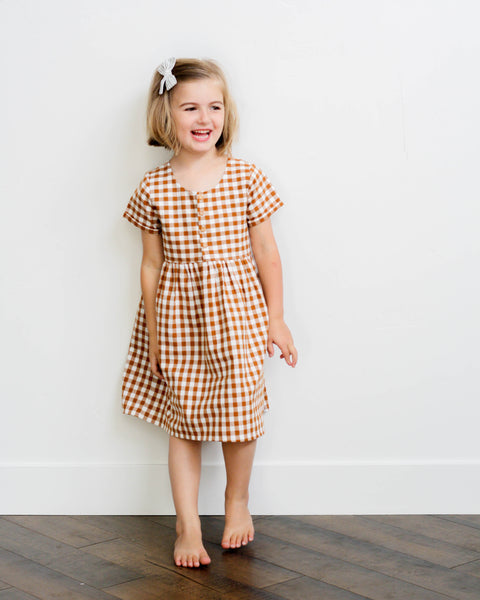 Marta Dress | Cinnamon Gingham - Pine + Honey