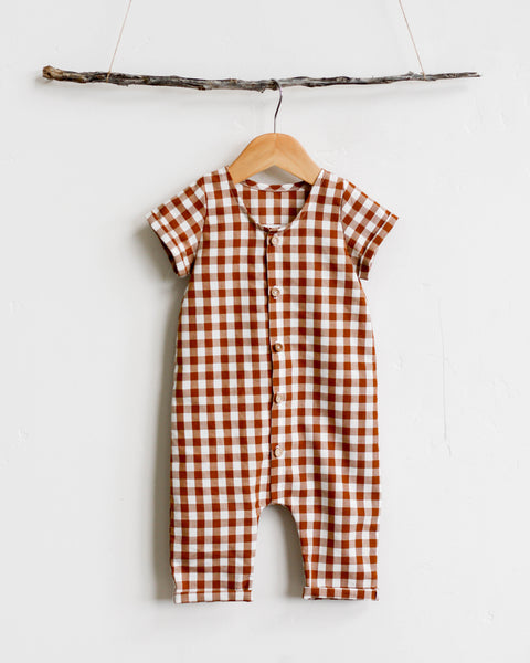 Romper | Cinnamon Gingham - Pine + Honey