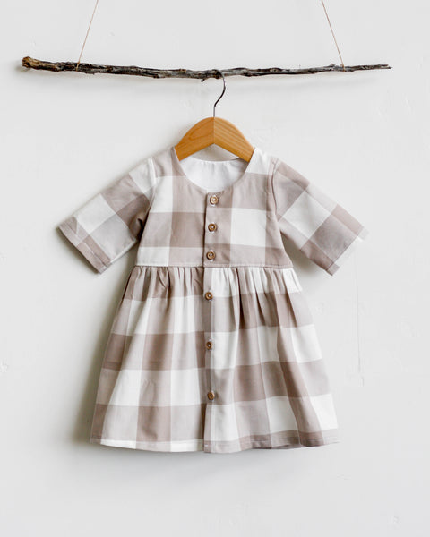 Schoolgirl Dress | Mink Gingham - Pine + Honey