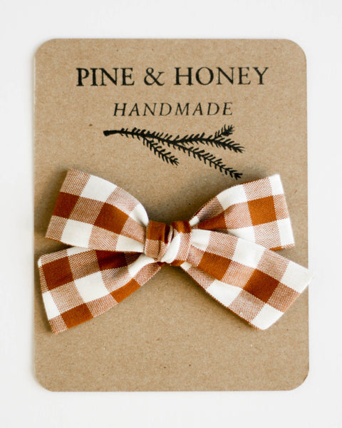 Oversized Classic Bow | Cinnamon Gingham - Pine + Honey