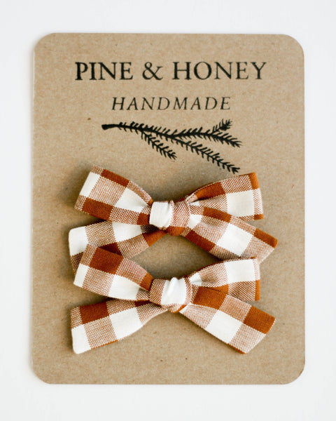 Classic Bow Pigtail Set | Cinnamon Gingham - Pine + Honey