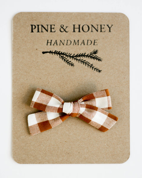 Classic Bow | Cinnamon Gingham - Pine + Honey