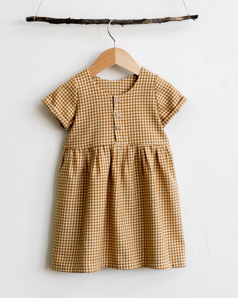 Marta Dress | Mustard Gingham - Pine + Honey