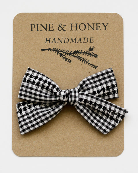 Oversized Classic Bow | Woven Gingham - Pine + Honey