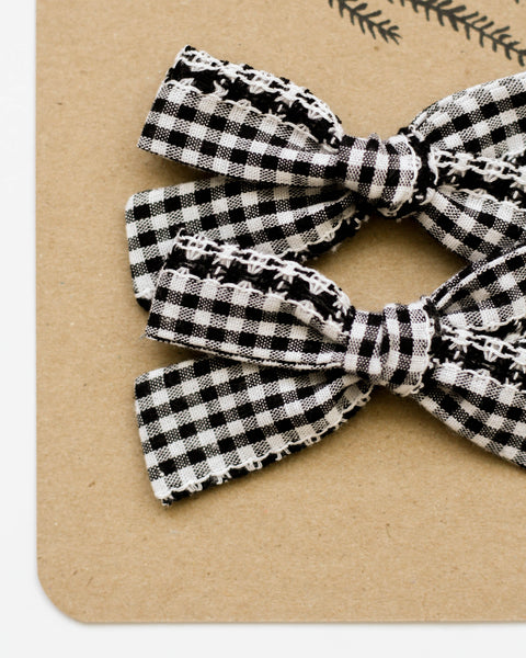 Classic Bow Pigtail Set | Woven Gingham - Pine + Honey