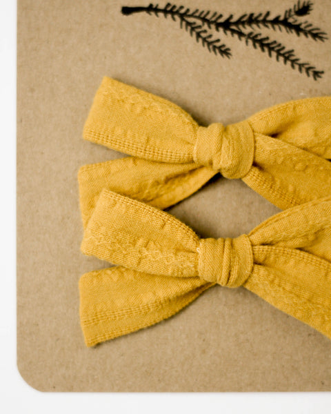 Classic Bow Pigtail Set | Woven Mustard - Pine + Honey