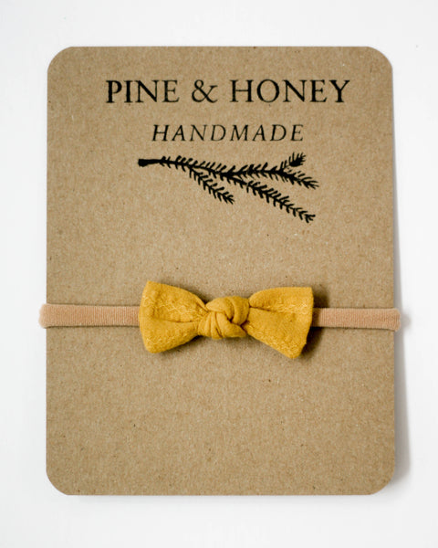 Mini Bow | Woven Mustard - Pine + Honey