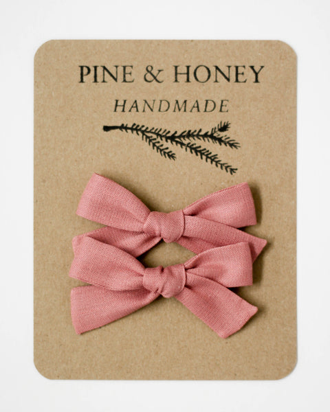 Classic Bow Pigtail Set | Dusty Rose - Pine + Honey