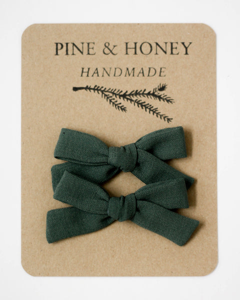 Classic Bow Pigtail Set | Peacock Green - Pine + Honey