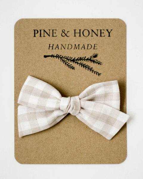 Oversized Classic Bow | Cloud Gingham - Pine + Honey