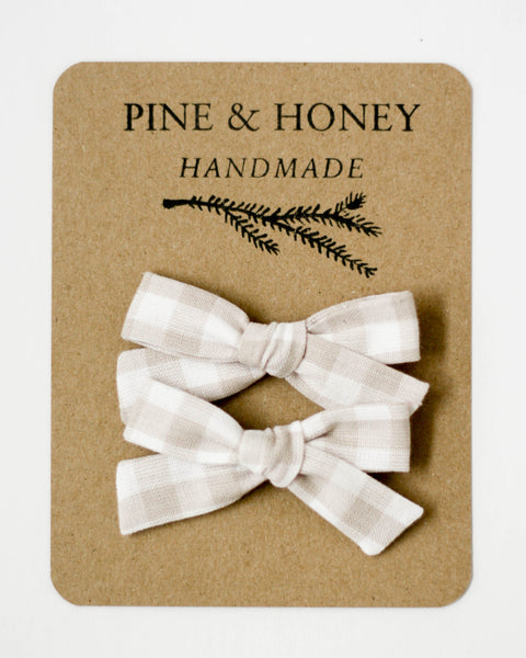 Classic Bow Pigtail Set | Cloud Gingham - Pine + Honey