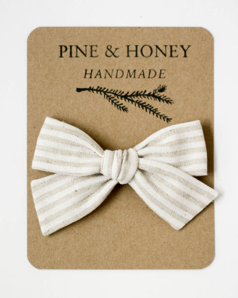 Oversized Classic Bow | Taupe Stripe - Pine + Honey