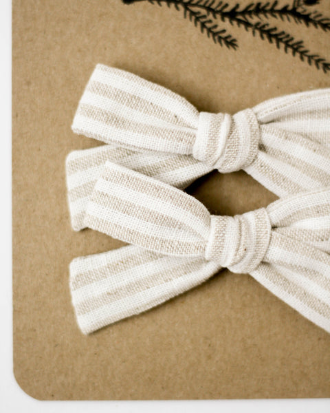 Classic Bow Pigtail Set | Taupe Stripe - Pine + Honey