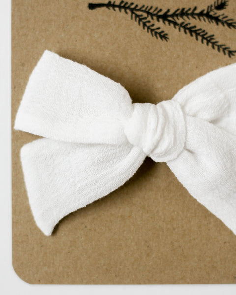 Oversized Classic Bow | White Gauze - Pine + Honey