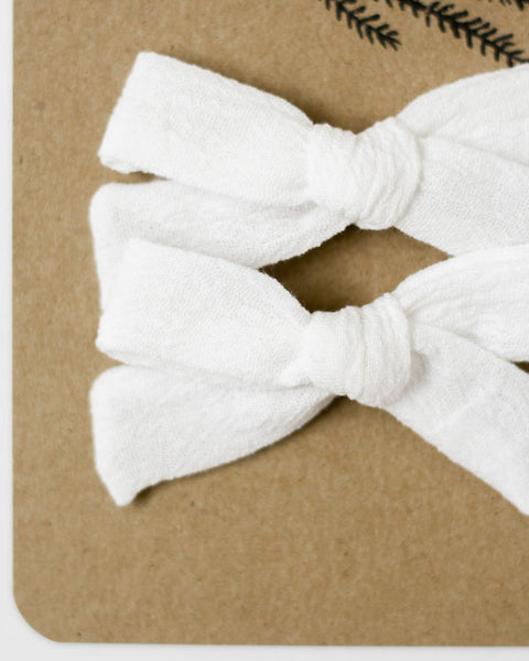Classic Bow Pigtail Set | White Gauze - Pine + Honey
