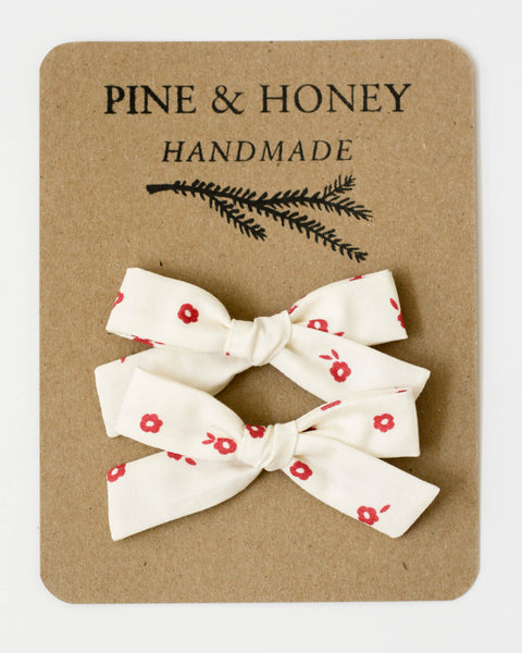 Classic Bow Pigtail Set | Poppy