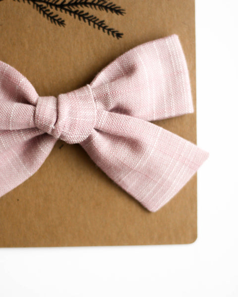 Oversized Classic Bow | Peony Linen - Pine + Honey