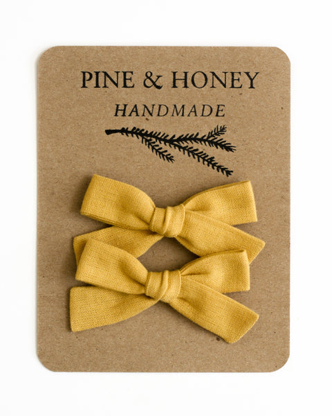 Classic Bow Pigtail Set | Honey - Pine + Honey