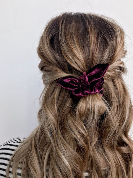 Mini Scrunchie | Cranberry Velvet - Pine + Honey