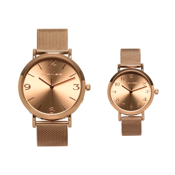 MATCHING ROSE GOLD MESH TIMEPIECES