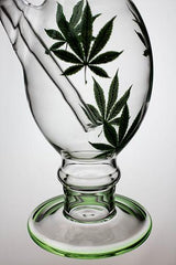 "12"" leaf printed oval shape glass water bong"
