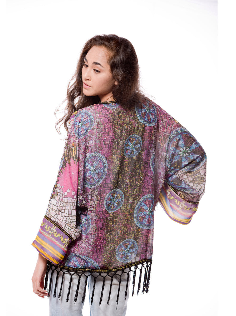 PRINTED KIMONO WITH SEQUIN BORDER