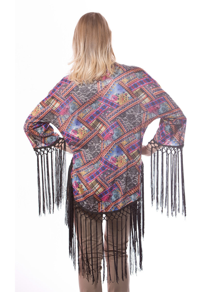 PRINTED KIMONO WITH LONG BLACK TASSEL
