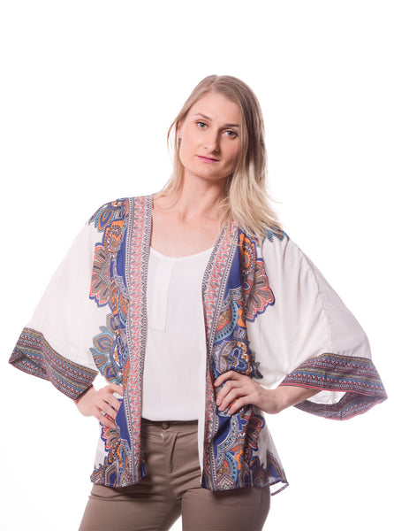 WHITE KIMONO WITH PRINTED BORDER