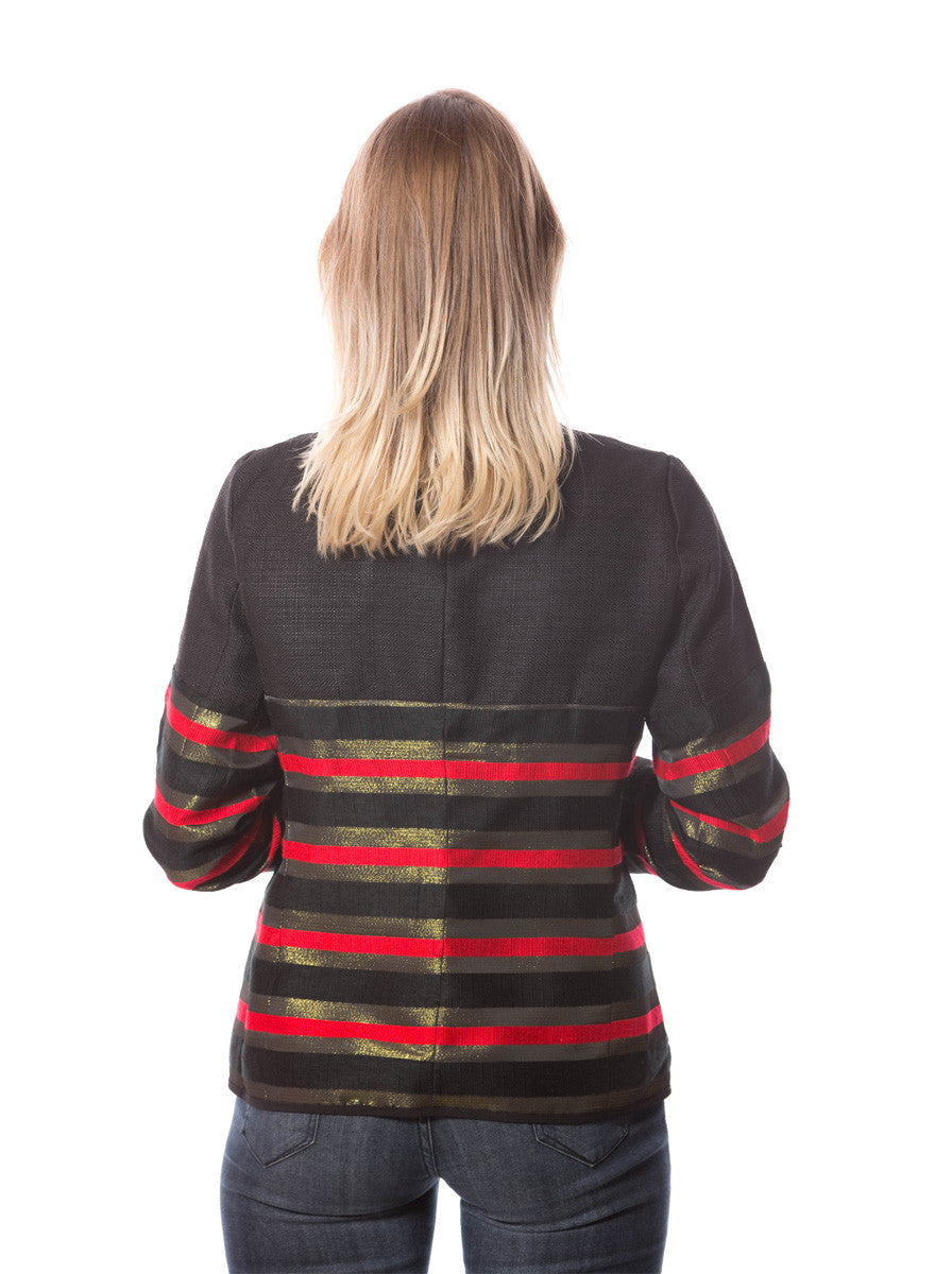 BLACK JACKET WITH RED AND GOLD STRIPES
