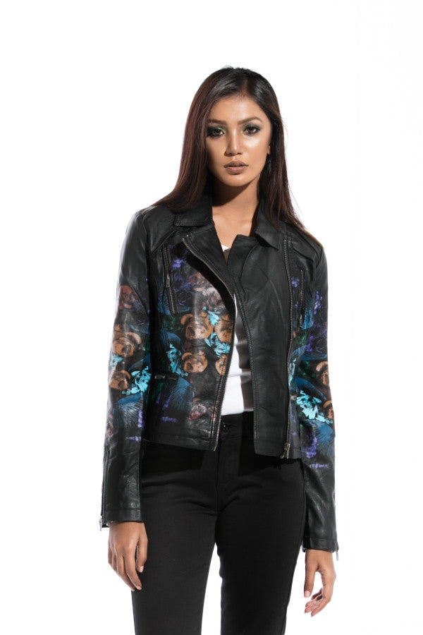LEATHER FLORAL PAINTED JACKET