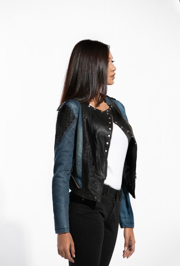 DENIM-LATHER STUD JACKET
