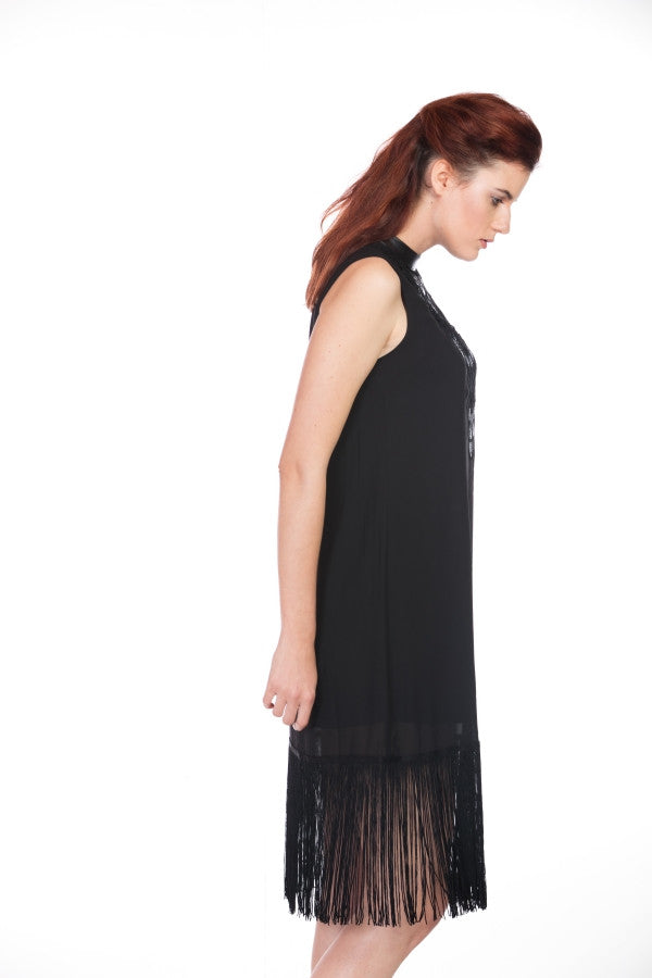 FRINGE DRESS WITH LACE DETAILS