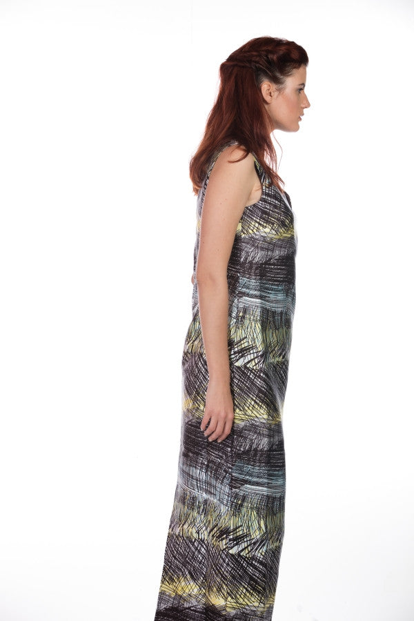 GREEN PRINTED LONG DRESS