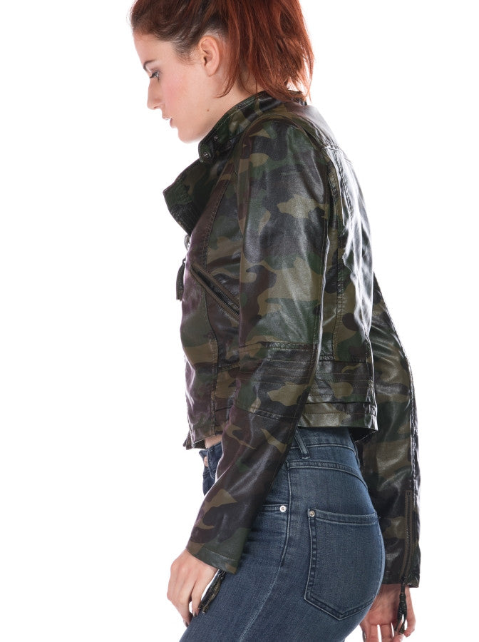 CAMOUFLAGE FAUX LEATHER JACKET