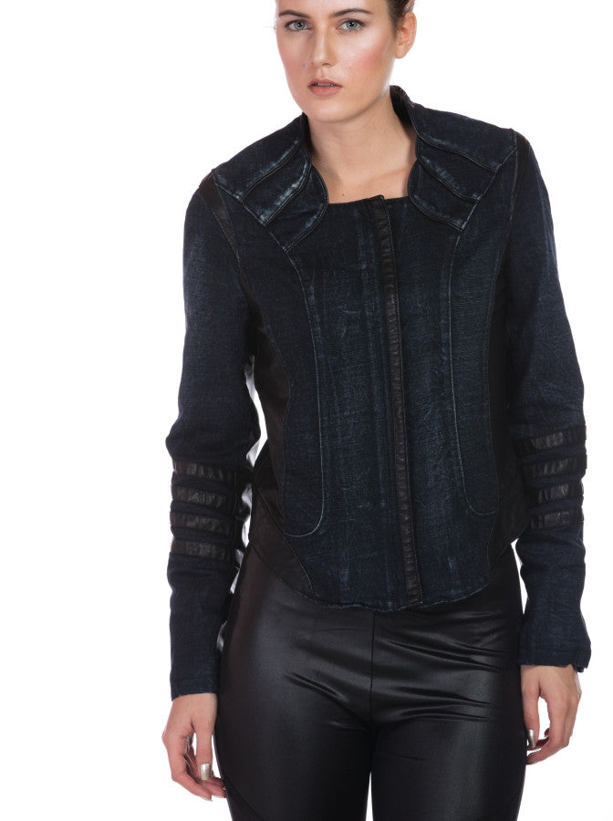 DENIM BIKER JACKET WITH FAUX LEATHER
