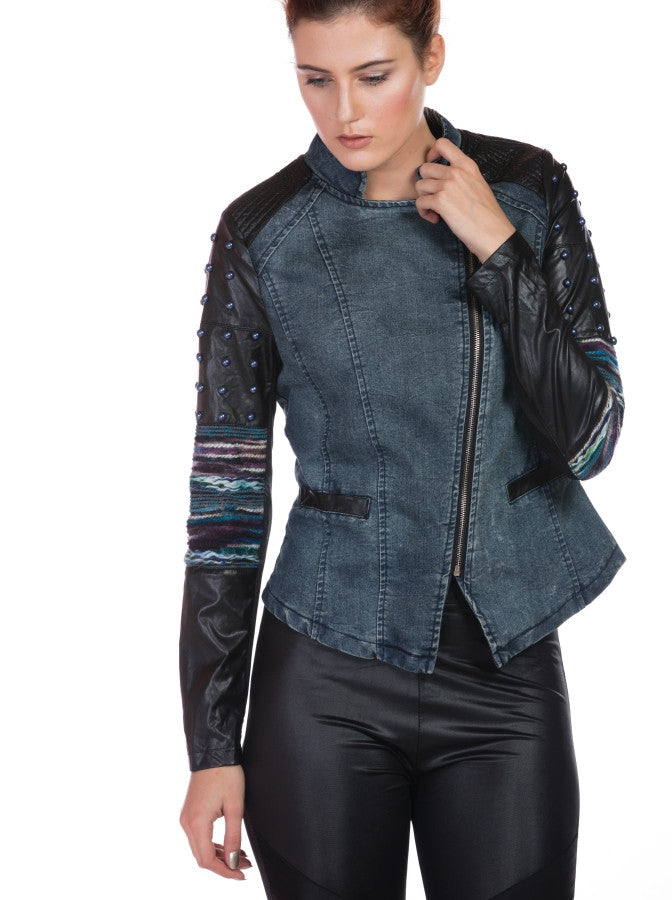 DENIM JACKET WITH EMBELLISHED SLEEVE